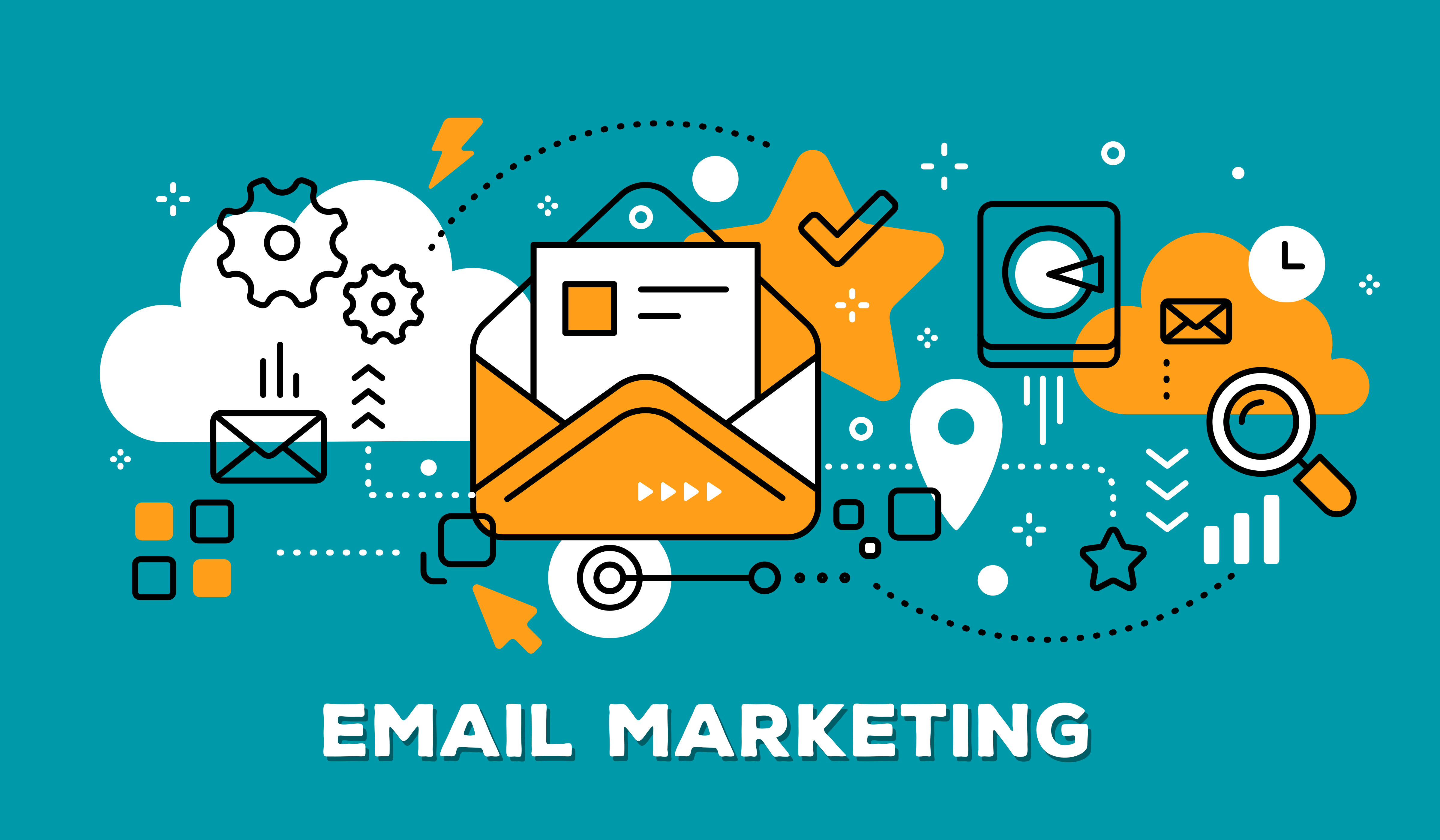 email marketing – orange & teal